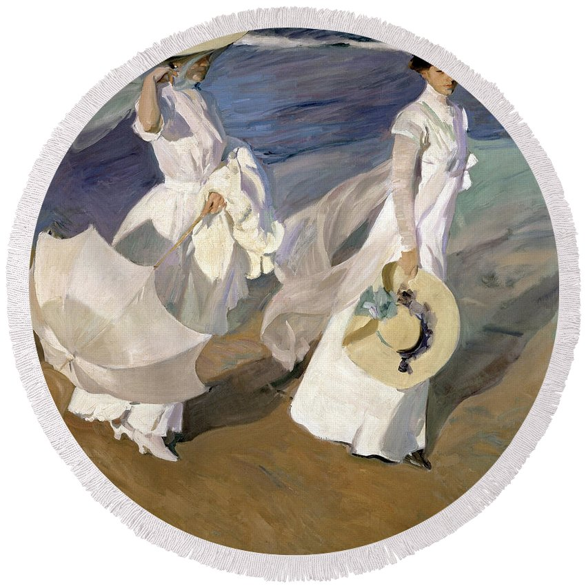 Sorolla Round Beach Towel featuring the painting Strolling Along The Seashore by Joaquin Sorolla y Bastida