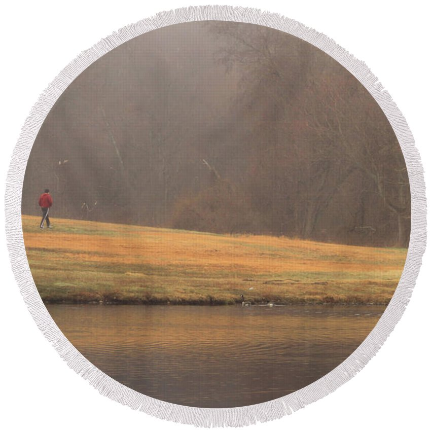 Fog Round Beach Towel featuring the photograph Strolling Thru The Park by Karol Livote