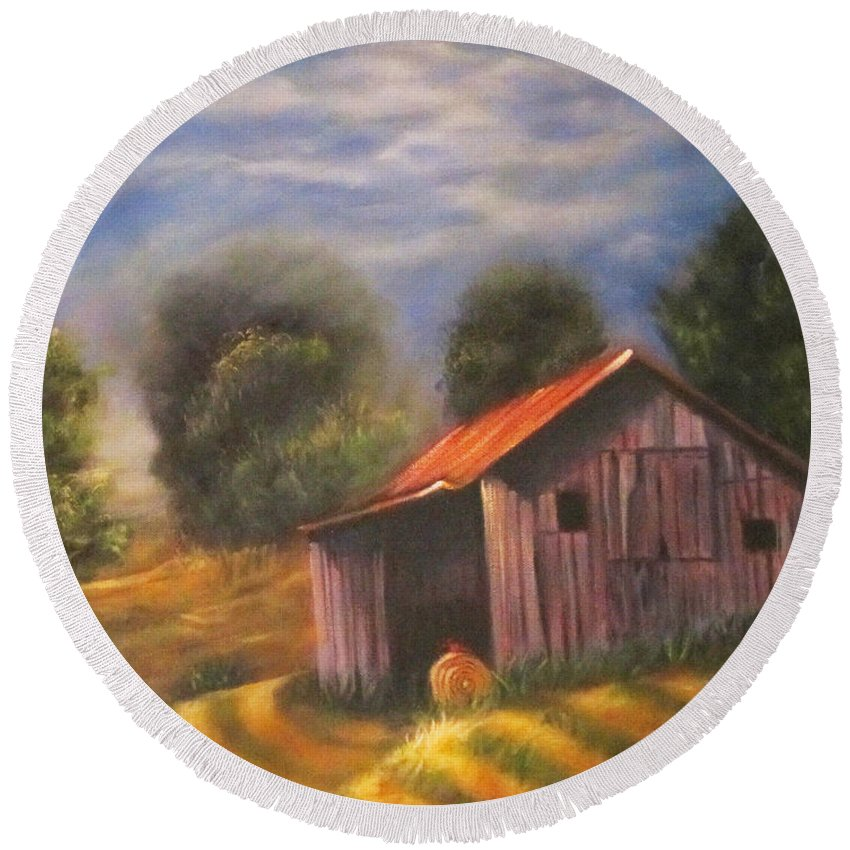 Landscape Round Beach Towel featuring the painting Strong Hollow, Va by Sherry Strong