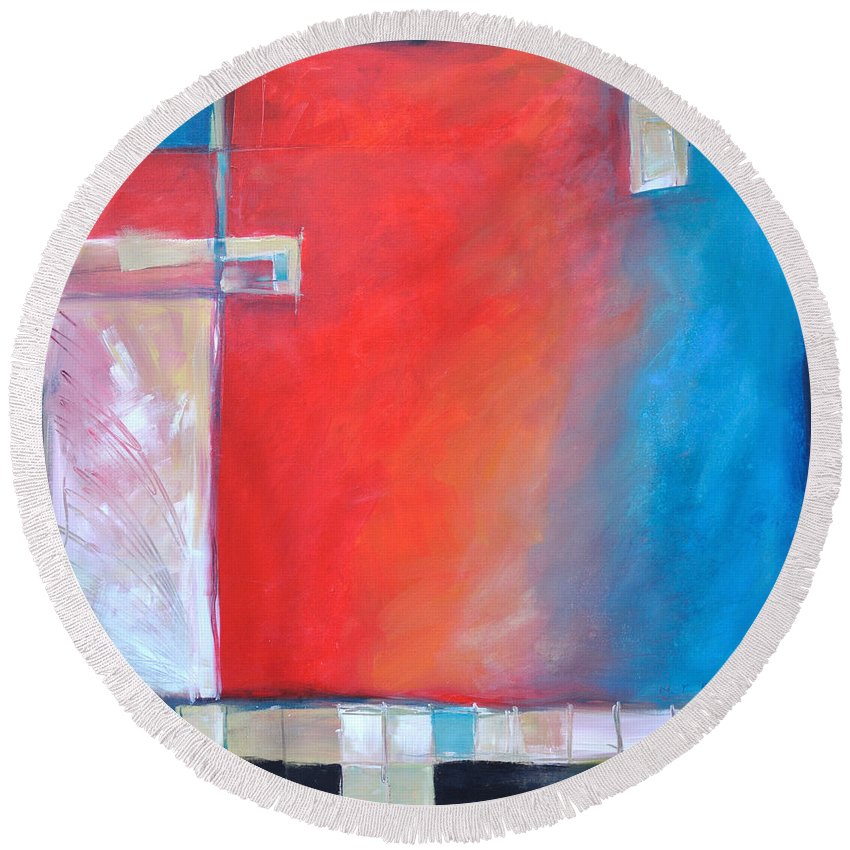 Abstract Round Beach Towel featuring the painting Structures And Solitude Revisited by Tim Nyberg