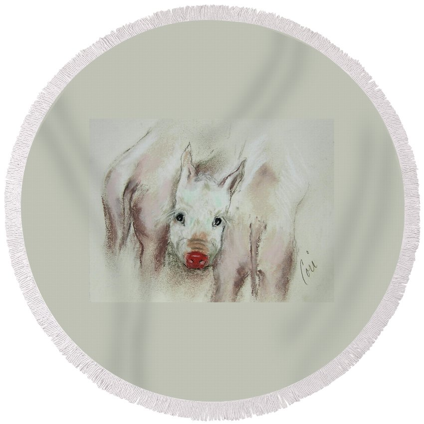 Animal Round Beach Towel featuring the drawing Stuck In The Middle by Cori Solomon
