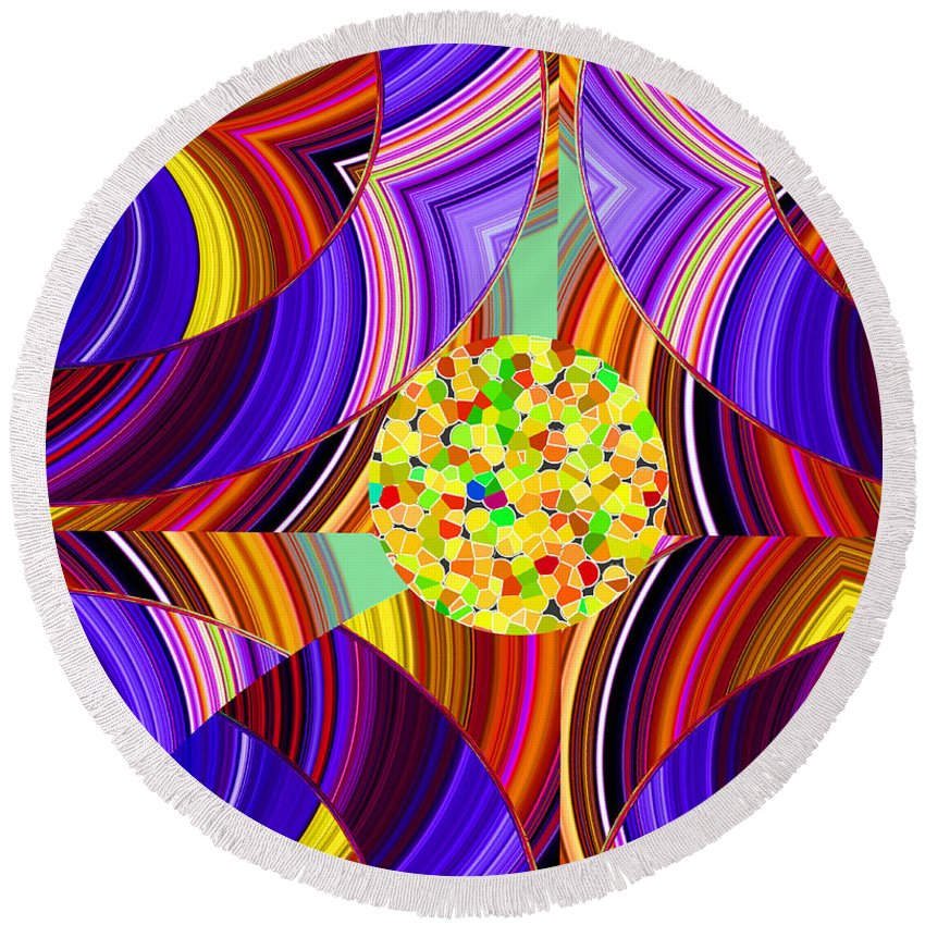 ruth Palmer Round Beach Towel featuring the digital art Stuck In The Middle by Ruth Palmer