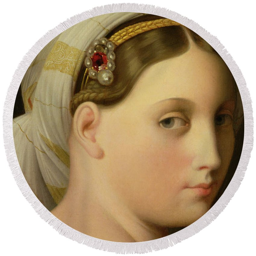 Nude Round Beach Towel featuring the painting Study For An Odalisque by Ingres
