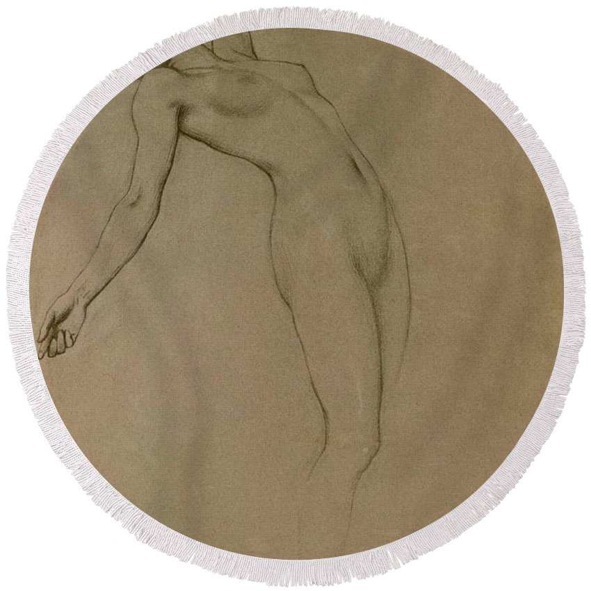 Study Round Beach Towel featuring the drawing Study For Clyties Of The Mist by Herbert James Draper