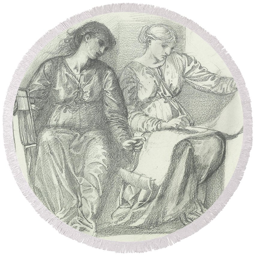Study For Music Round Beach Towel featuring the drawing Study For Music by Edward Coley Burne-Jones