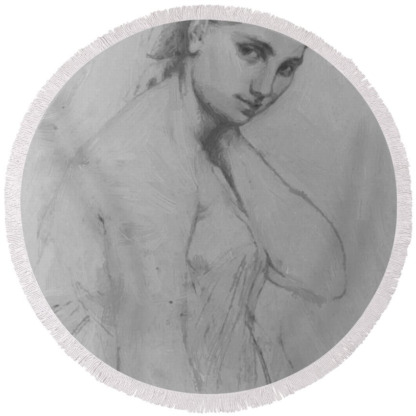 Study Round Beach Towel featuring the painting Study For Raphael And The Fornarina by Ingres Jean Auguste Dominique