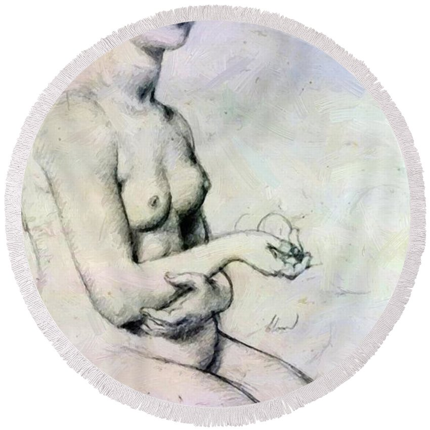 Study Round Beach Towel featuring the painting Study For Vaus Paphos by Ingres Jean Auguste Dominique