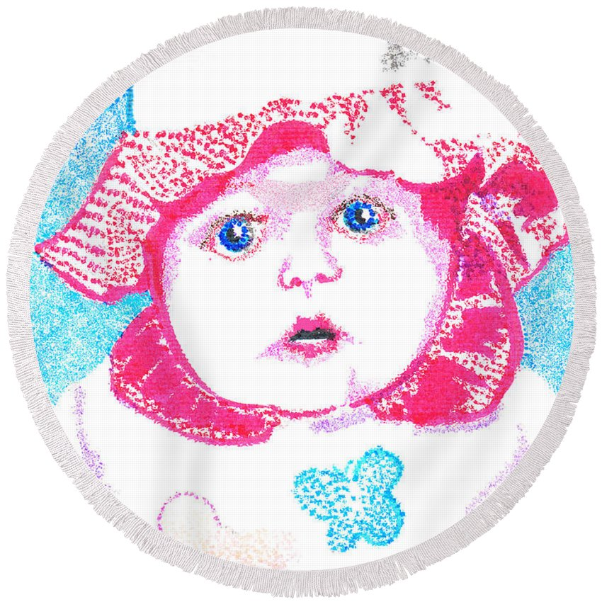 Baby Round Beach Towel featuring the digital art Study In Blue And Pink by Seth Weaver