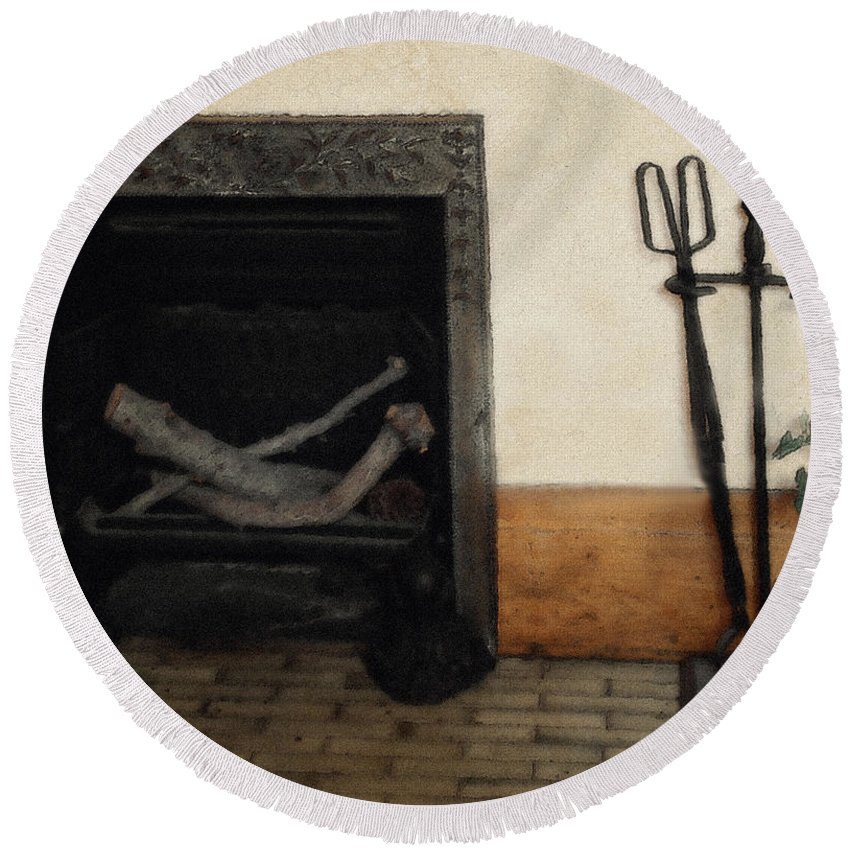Fireplace Round Beach Towel featuring the painting Study In Iron, Wood And Stone by RC DeWinter