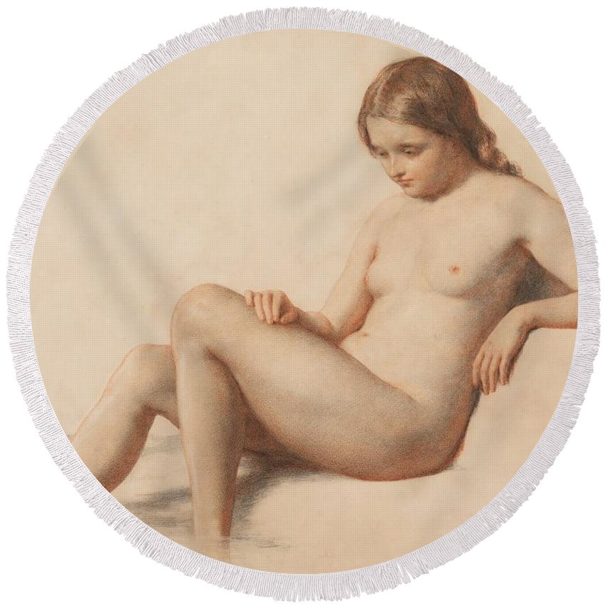 Study Of A Nude Round Beach Towel featuring the drawing Study Of A Nude by William Mulready