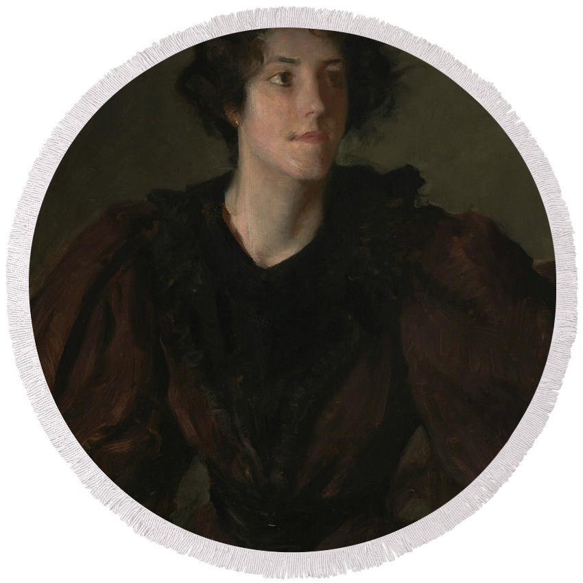 William Merritt Chase Round Beach Towel featuring the painting Study Of A Young Woman by William Merritt Chase