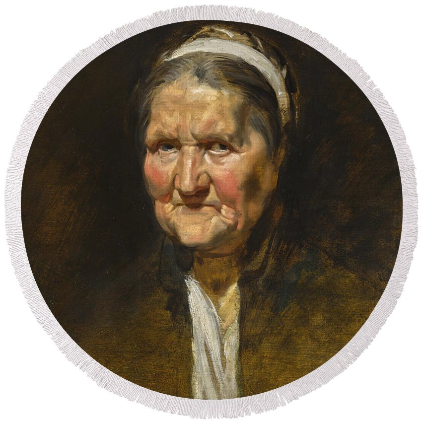 Peter Paul Rubens Round Beach Towel featuring the painting Study Of An Old Woman by Peter Paul Rubens