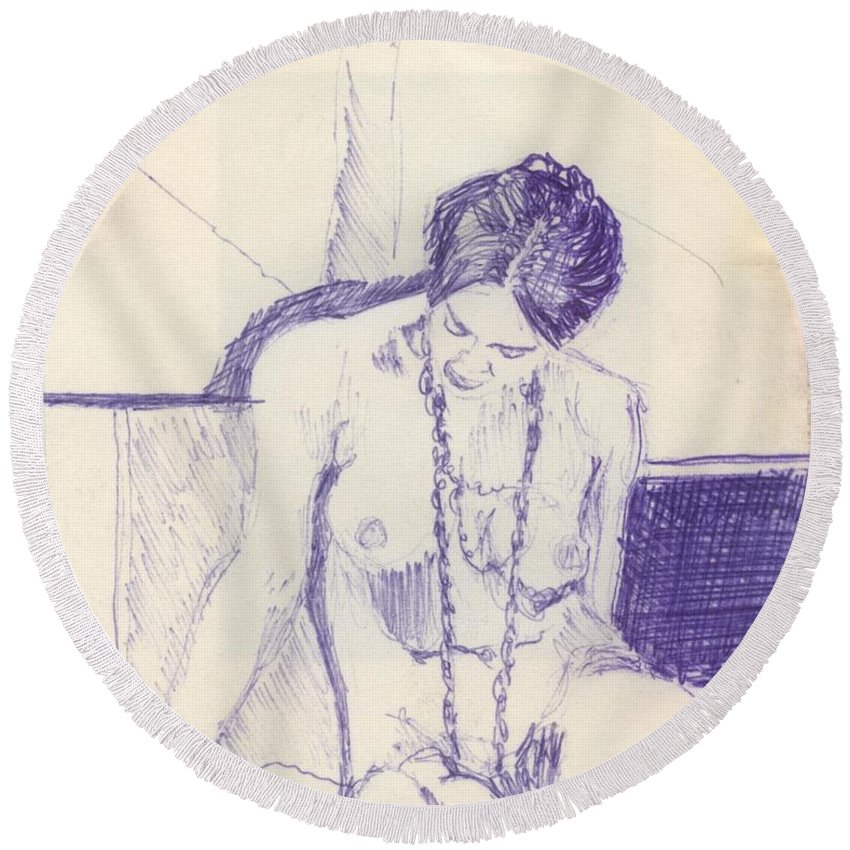 Ink Sketch Round Beach Towel featuring the drawing Studying For Exams by Ron Bissett