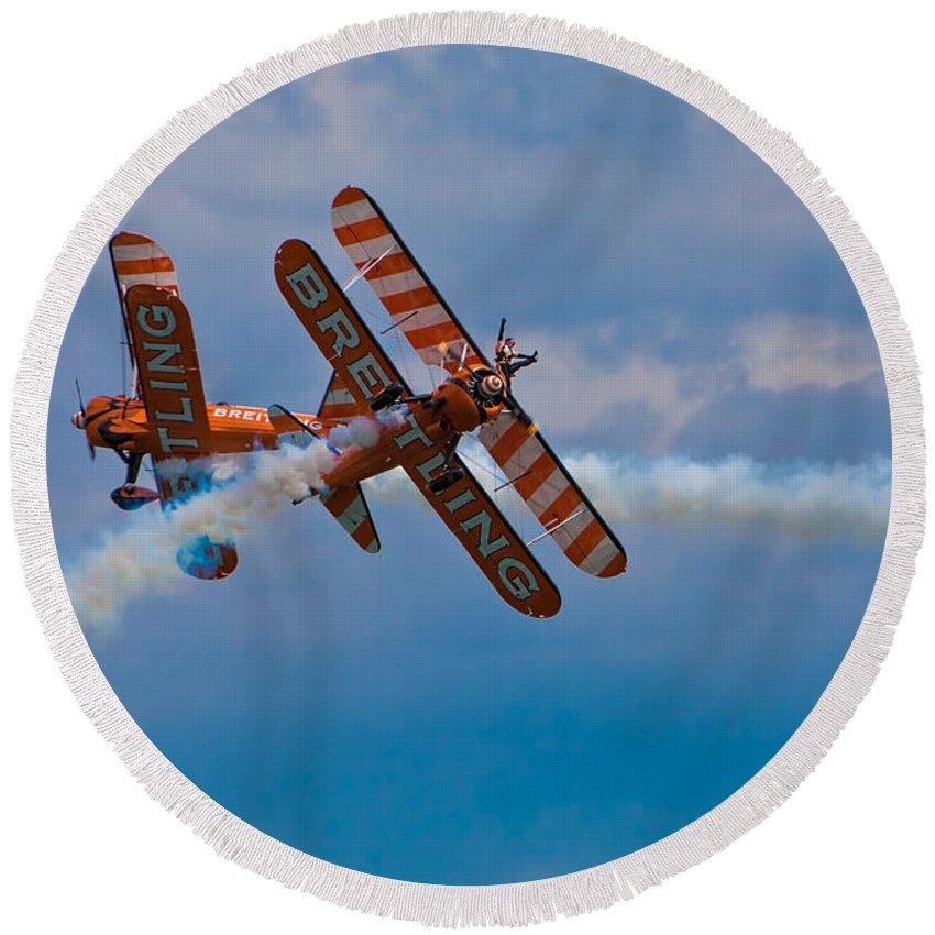 Biplane Round Beach Towel featuring the photograph Stunt Biplanes With Wingwalkers by Chris Lord