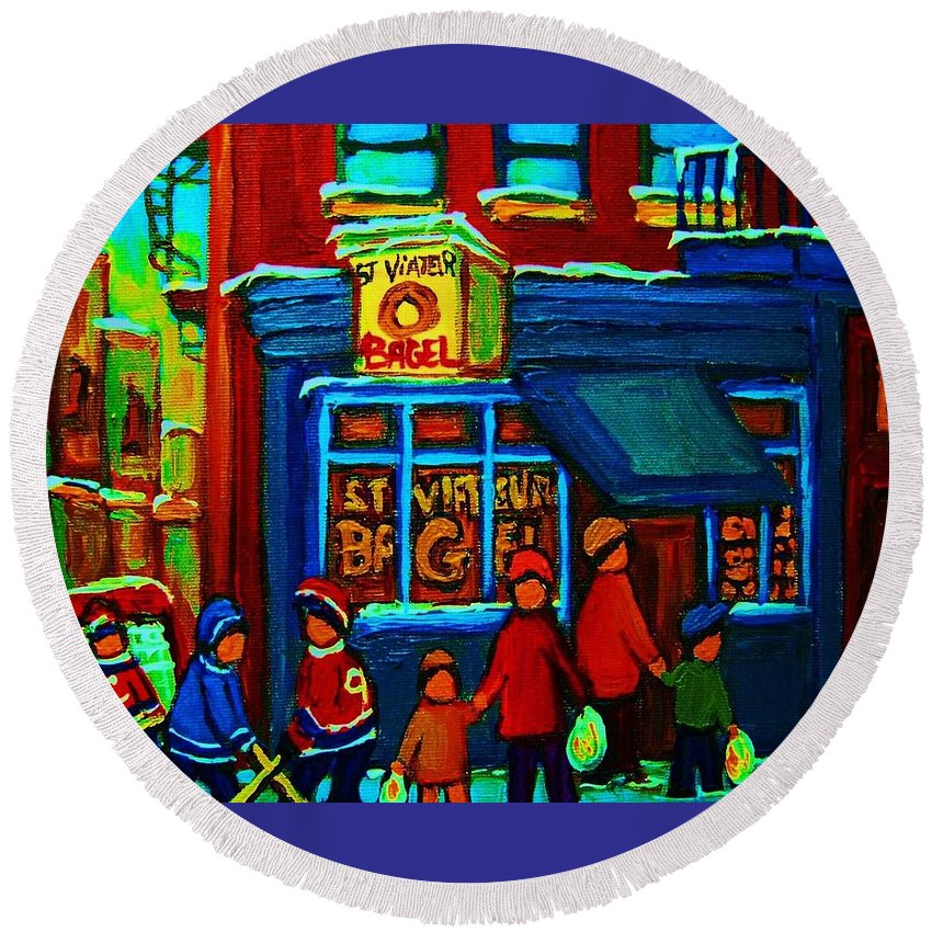 Montreal Bagelshop Round Beach Towel featuring the painting St.viateur Bagel And Hockey Kids by Carole Spandau