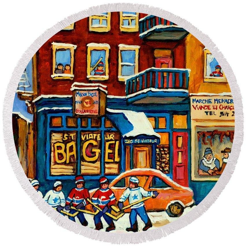 St.viateur Bagel Round Beach Towel featuring the painting St.viateur Bagel Hockey Montreal by Carole Spandau
