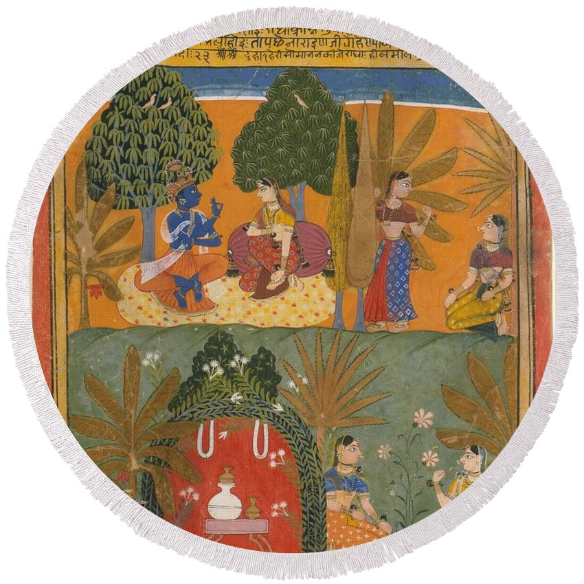 Style Of Manohar  Krishna And Radha With Their Confidantes Page From A Dispersed Gita Govinda Round Beach Towel featuring the digital art Style Of Manohar  Krishna And Radha With Their Confidantes Page From A Dispersed Gita Govinda by Anne Pool