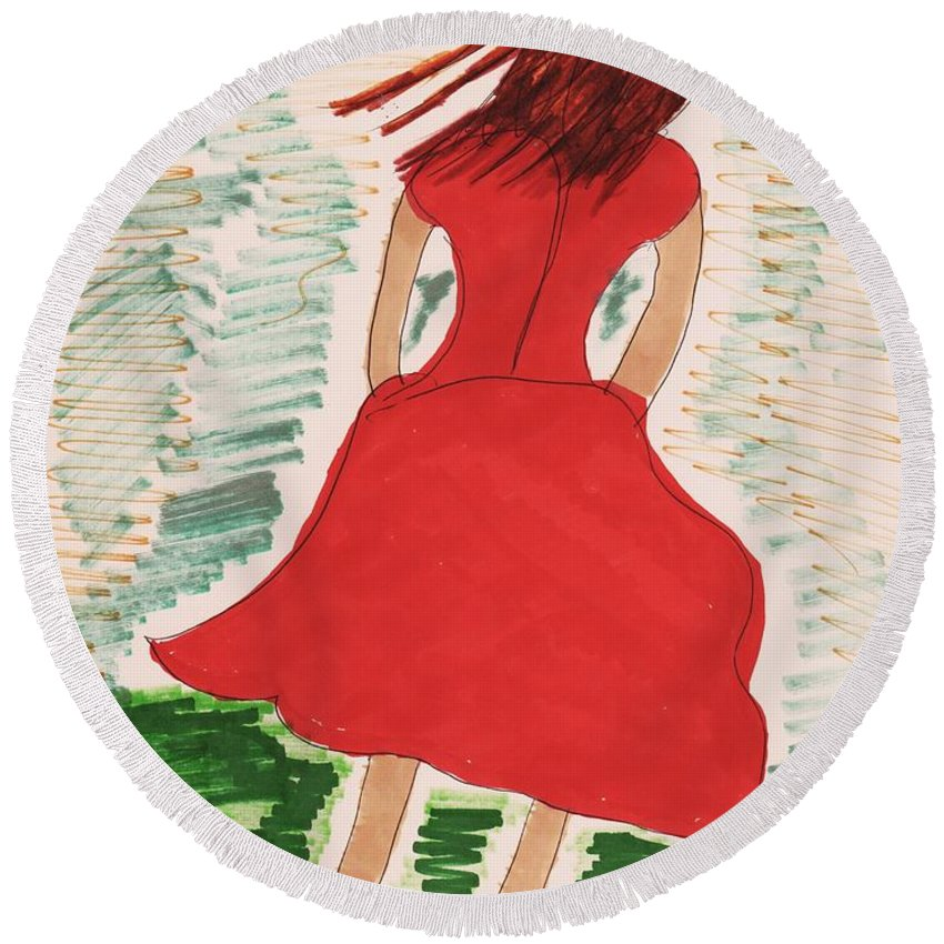 Back Of Girl Red Dress Medium Length Round Beach Towel featuring the mixed media Style Two 2014 by Elinor Helen Rakowski