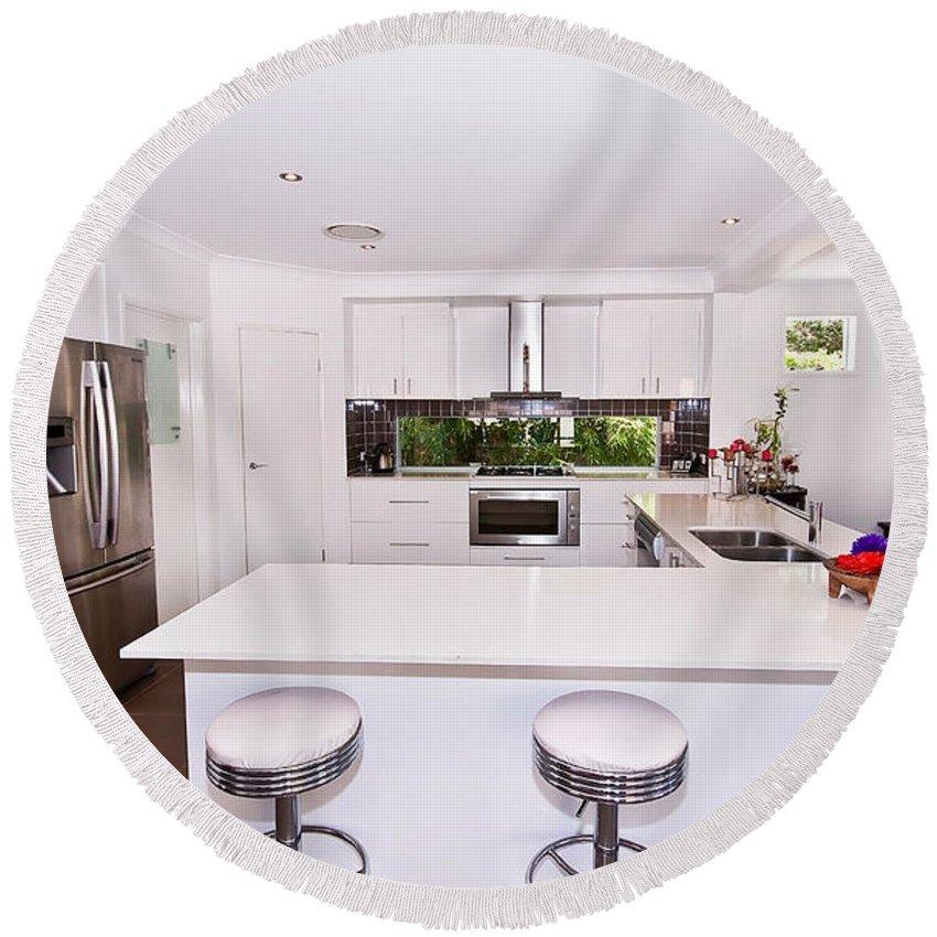 Stylish Round Beach Towel featuring the photograph Stylish Modern Kitchen by Darren Burton