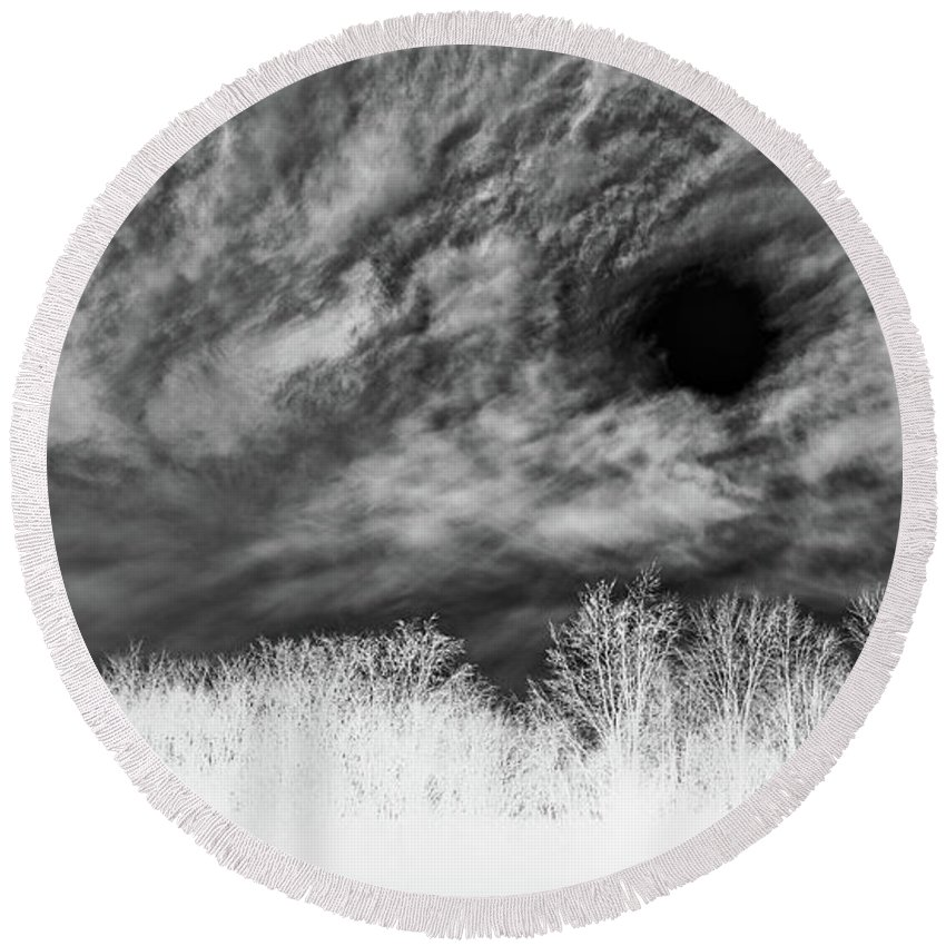 Negative Round Beach Towel featuring the photograph Stylized Monochrome Landscape Of A Storm by Catalin Petolea