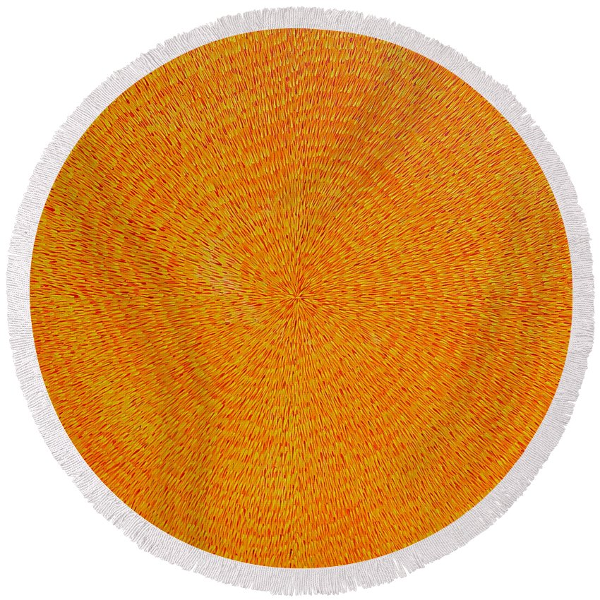Abstract Round Beach Towel featuring the painting Su Gaia by Dean Triolo