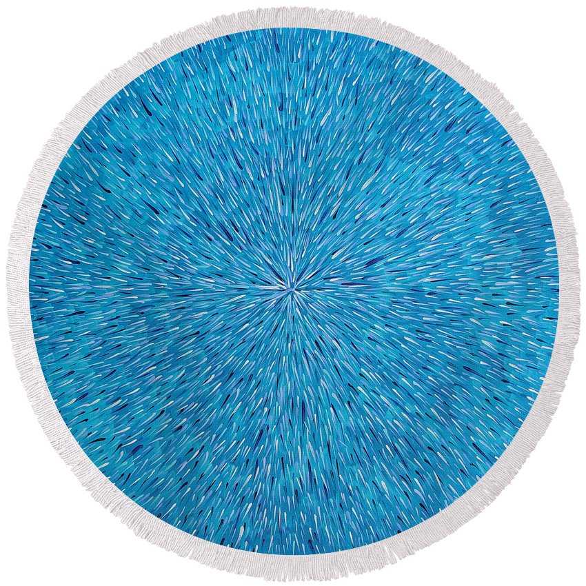 Abstract Round Beach Towel featuring the painting Su Gaia Rain by Dean Triolo
