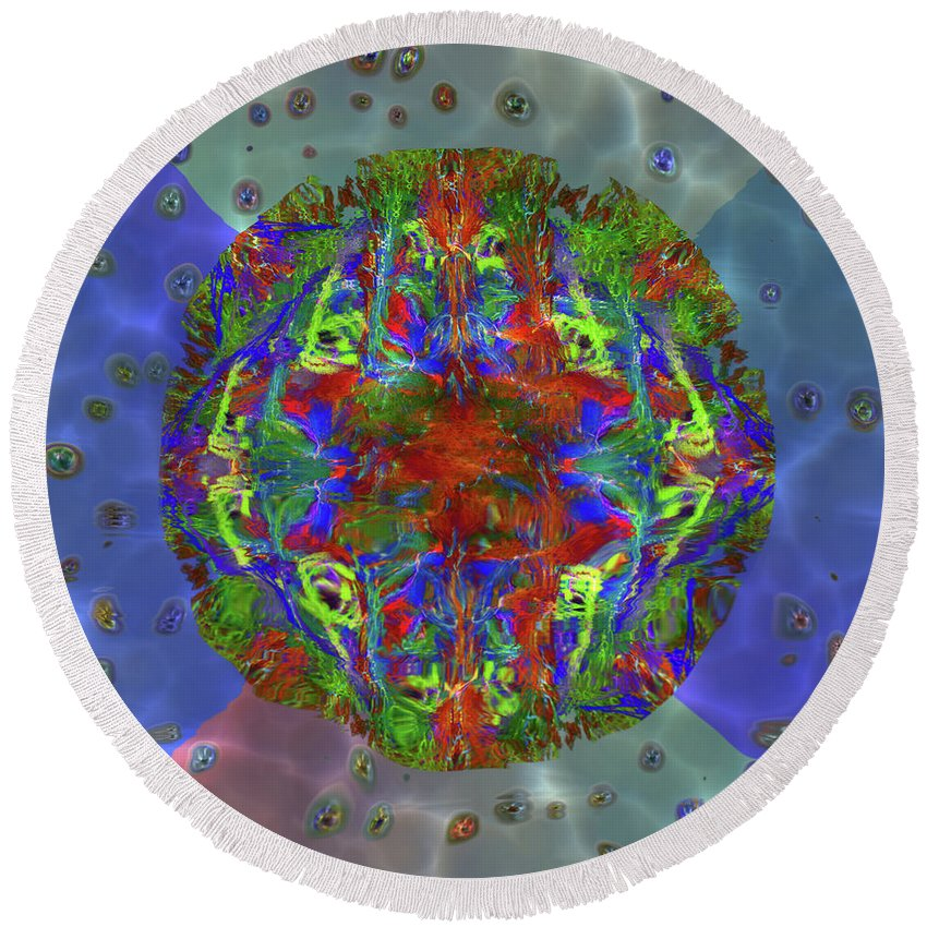 Abstract Round Beach Towel featuring the digital art Submerging Fractals by Diane Parnell