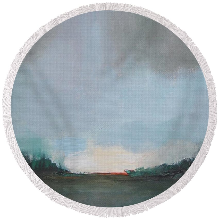 Abstract Landscape Round Beach Towel featuring the painting Suburb Dusk by Vesna Antic