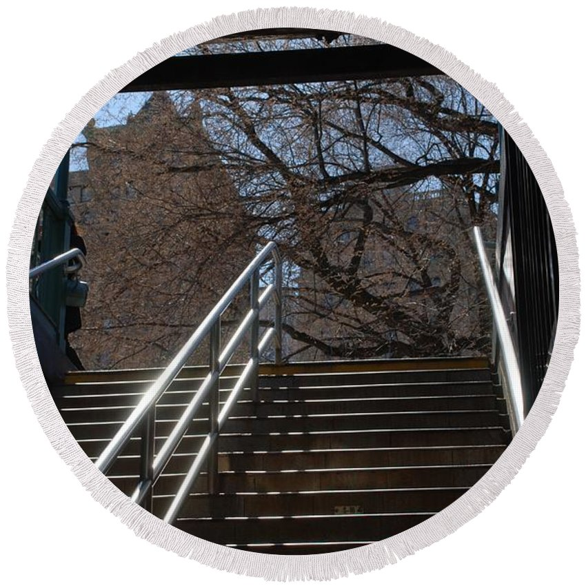 Street Scene Round Beach Towel featuring the photograph Subway Stairs by Rob Hans