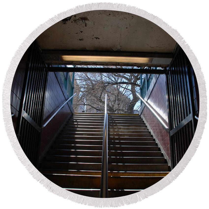 Pop Art Round Beach Towel featuring the photograph Subway Stairs To Freedom by Rob Hans