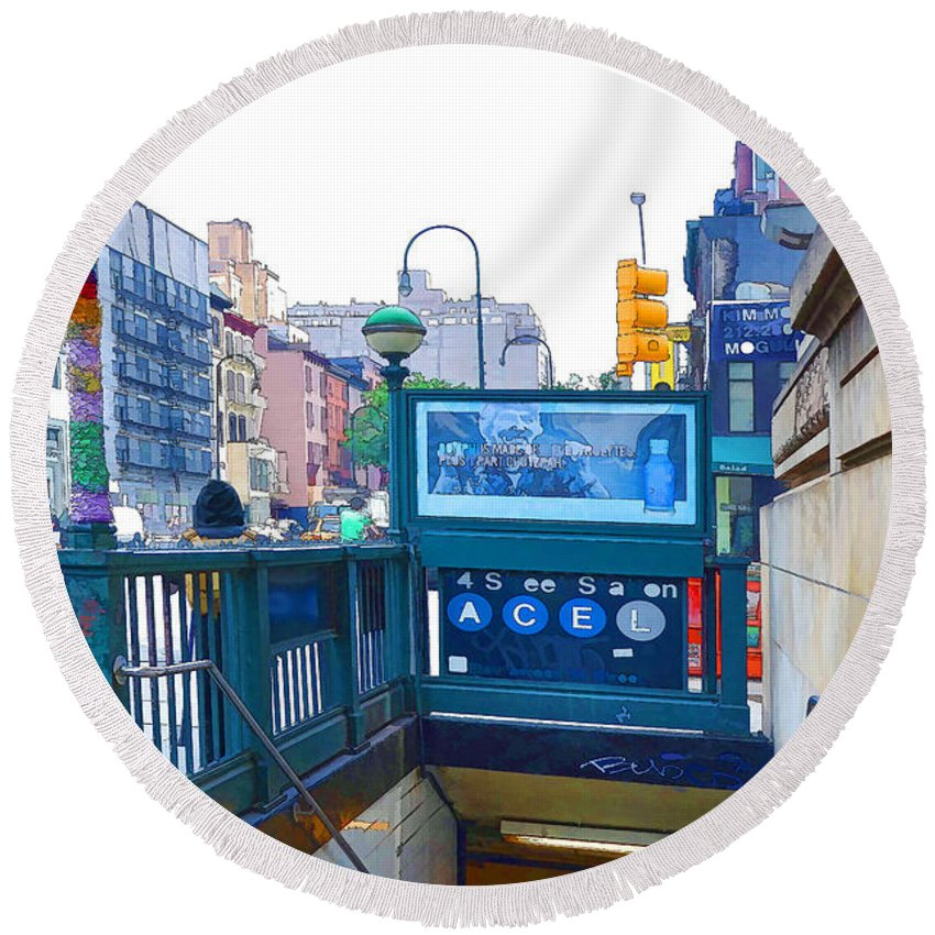 Subway Station Round Beach Towel featuring the painting Subway Station Entrance 2 by Jeelan Clark