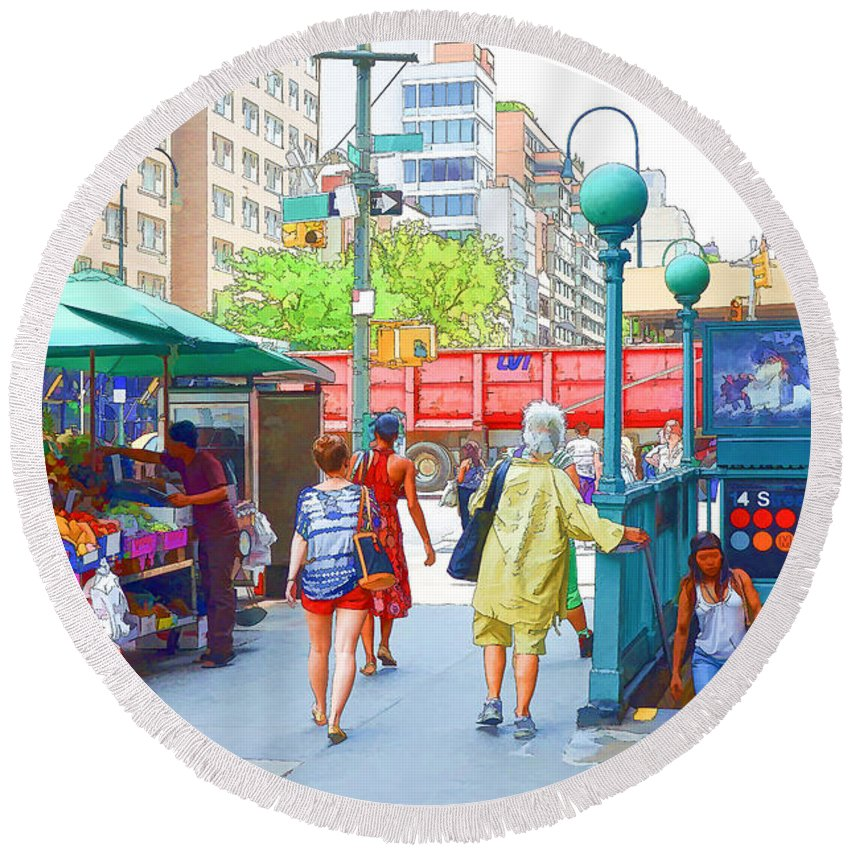 Subway Station Round Beach Towel featuring the painting Subway Station Entrance 3 by Jeelan Clark