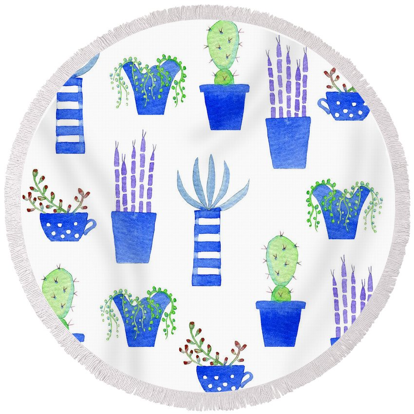 Succulents Round Beach Towel featuring the painting Succulents by Nic Squirrell