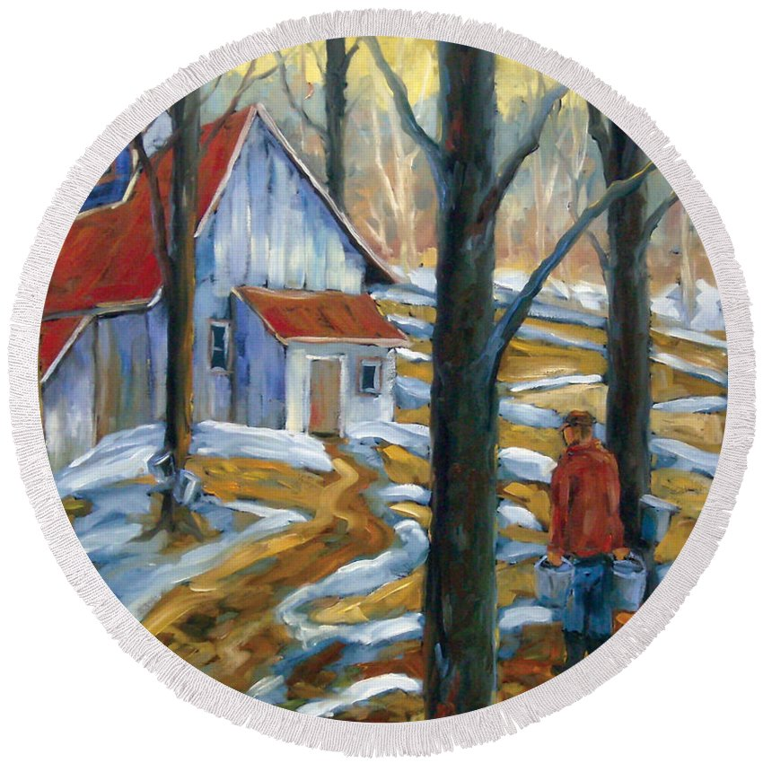 Suga Round Beach Towel featuring the painting Sugar Bush by Richard T Pranke