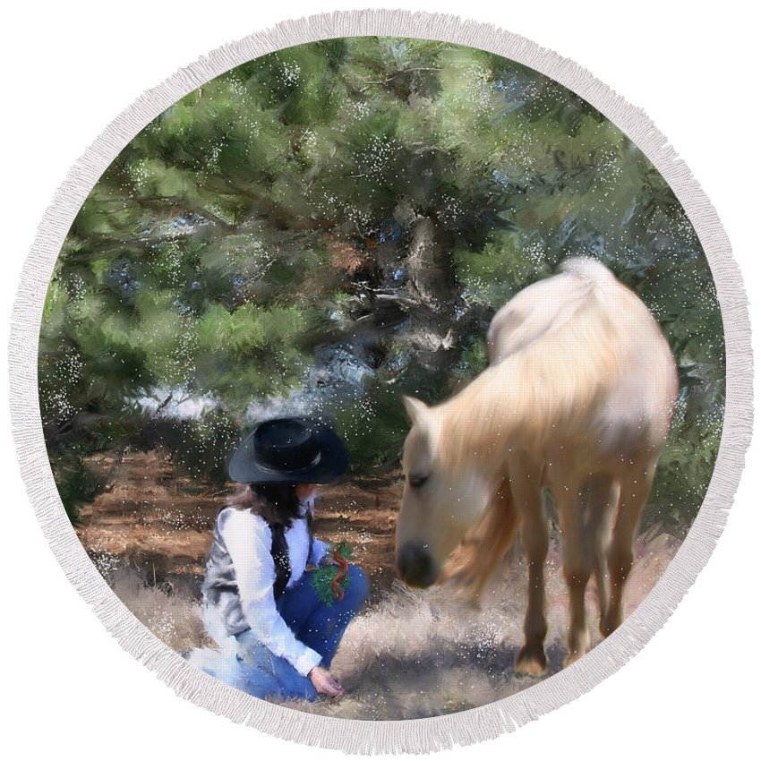 Cowgirl Round Beach Towel featuring the painting Sugar N Spice by Colleen Taylor