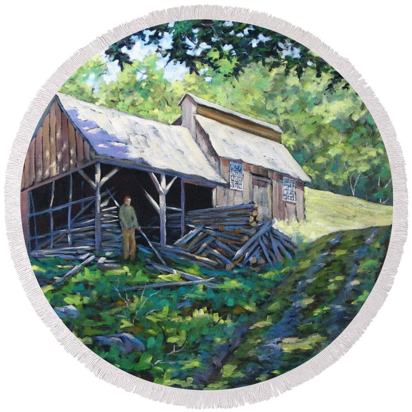 Sugar Shack Round Beach Towel featuring the painting Sugar Shack In July by Richard T Pranke