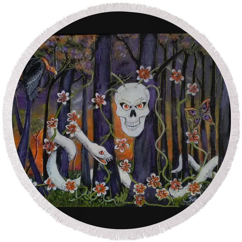 Skull Round Beach Towel featuring the painting Sugar Skull Forest by Susan Petty McRae