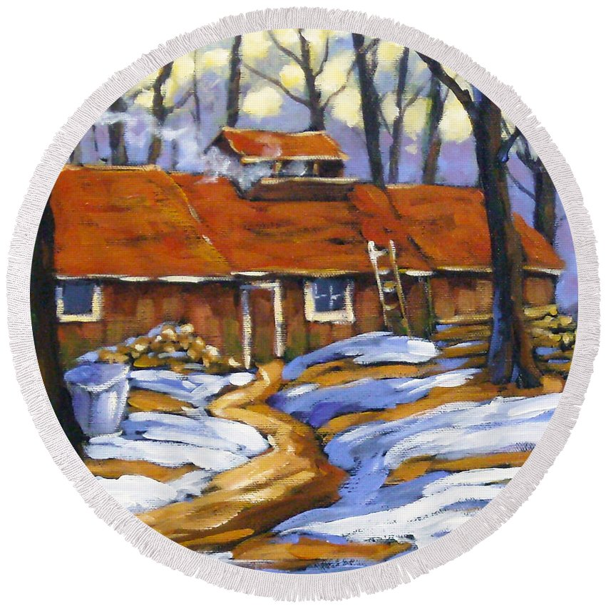 Sugar Shack Round Beach Towel featuring the painting Sugar Time by Richard T Pranke