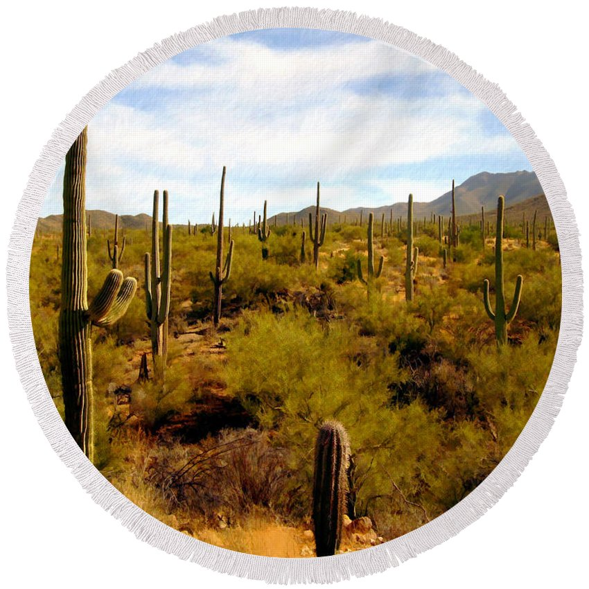Suguaro Cactus Round Beach Towel featuring the photograph Suguro National Park by Kurt Van Wagner
