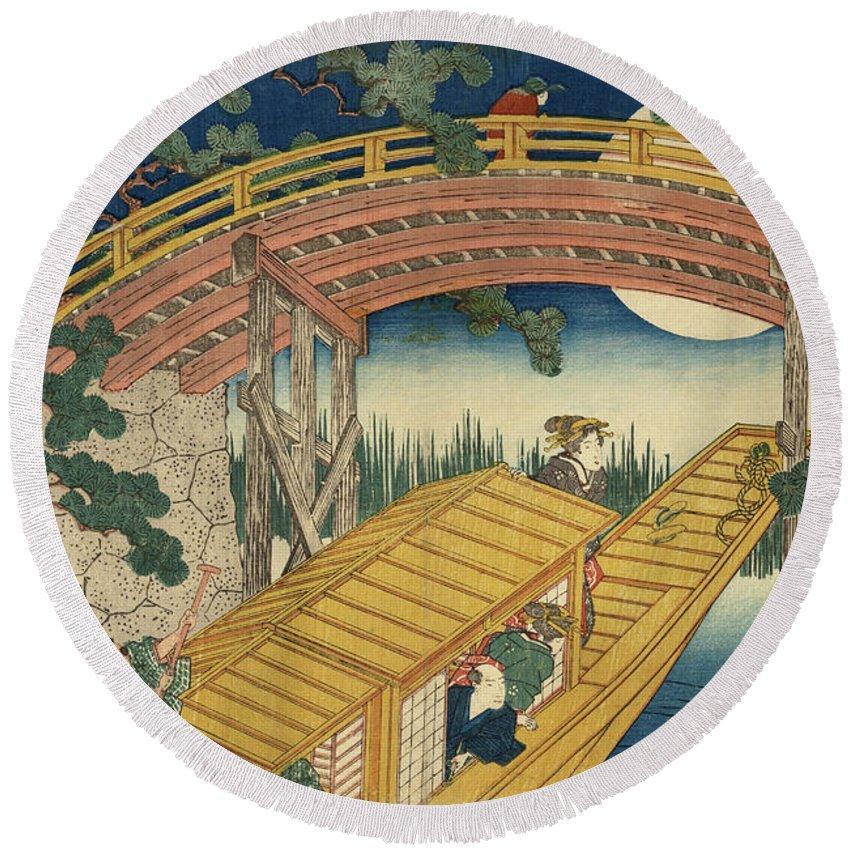 Suihiro Bridge In Moonlight Round Beach Towel featuring the painting Suihiro Bridge In Moonlight by Utagawa Kunisada