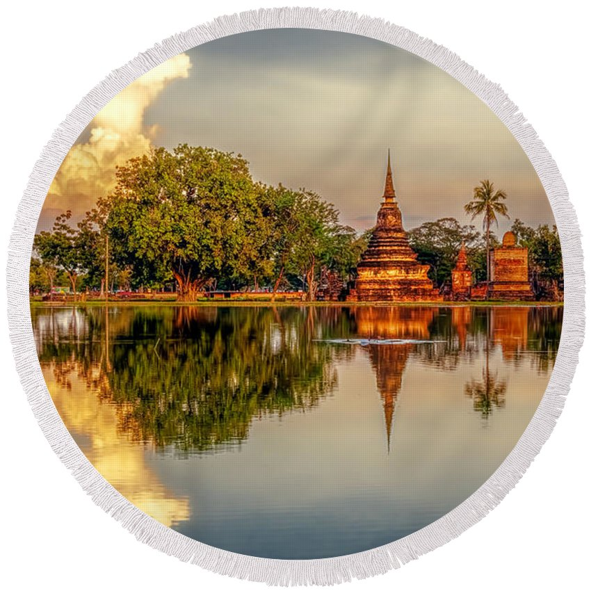 Architecture Round Beach Towel featuring the photograph Sukhothai Park by Maria Coulson