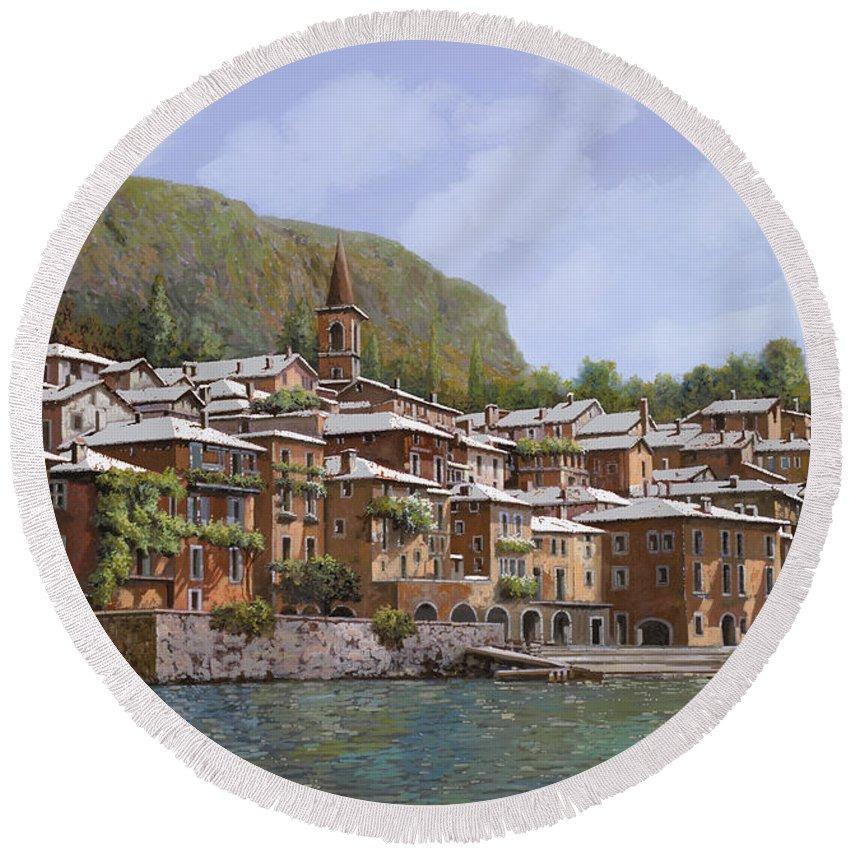 Lake Como Round Beach Towel featuring the painting Sul Lago Di Como by Guido Borelli