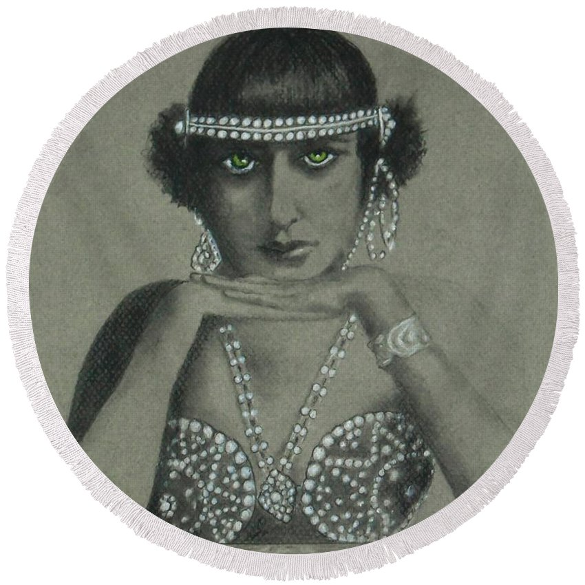 1920's Round Beach Towel featuring the drawing Sultry Silent Star -- Portrait Of Silent Film Star by Jayne Somogy