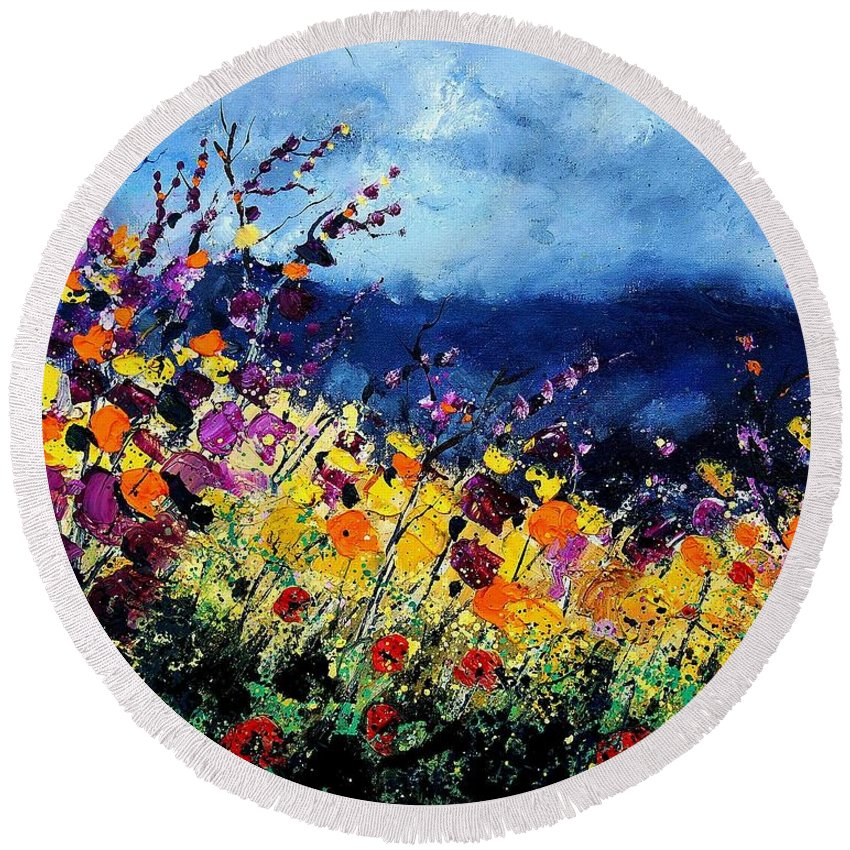 Poppy Round Beach Towel featuring the painting Summer 45 by Pol Ledent