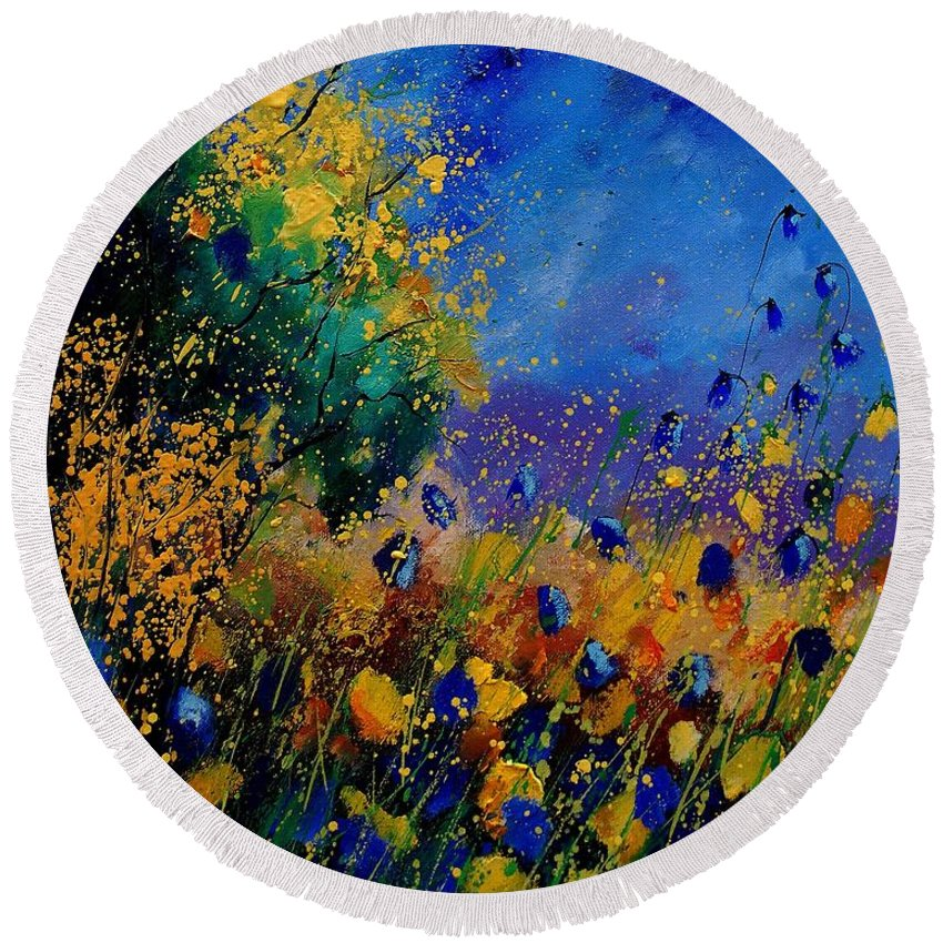 Poppy Round Beach Towel featuring the painting Summer 459090 by Pol Ledent