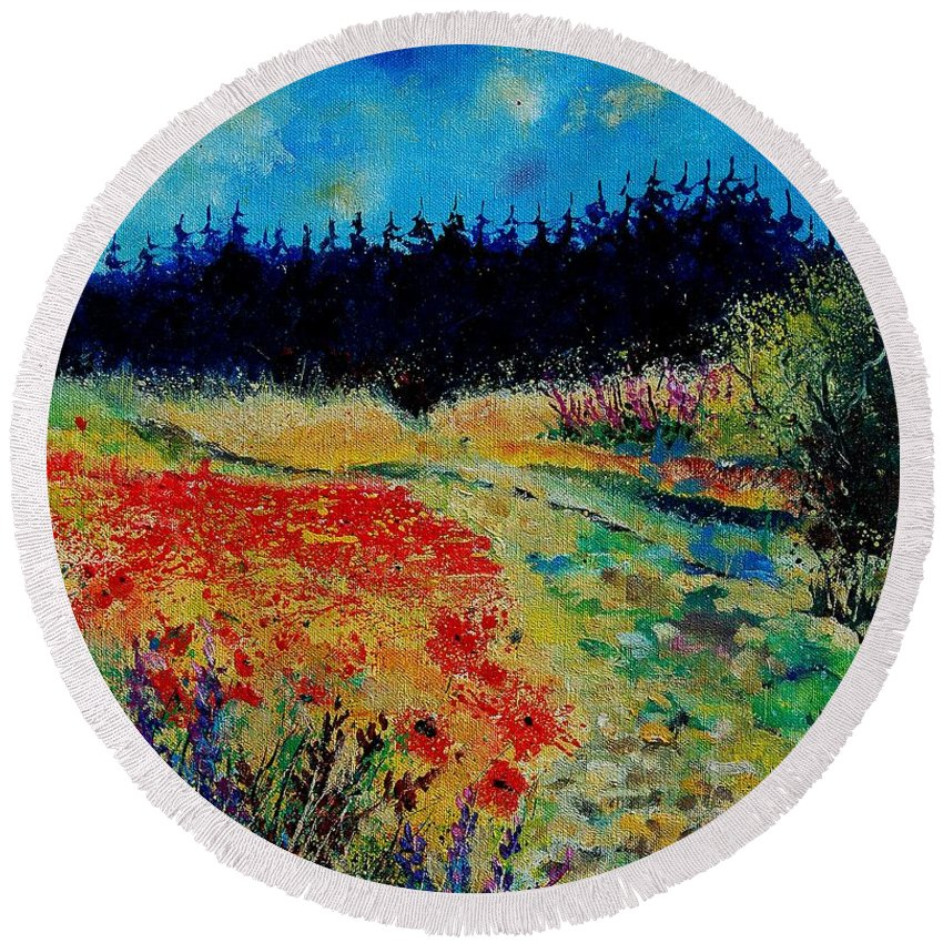 Tree Round Beach Towel featuring the painting Summer 56 by Pol Ledent