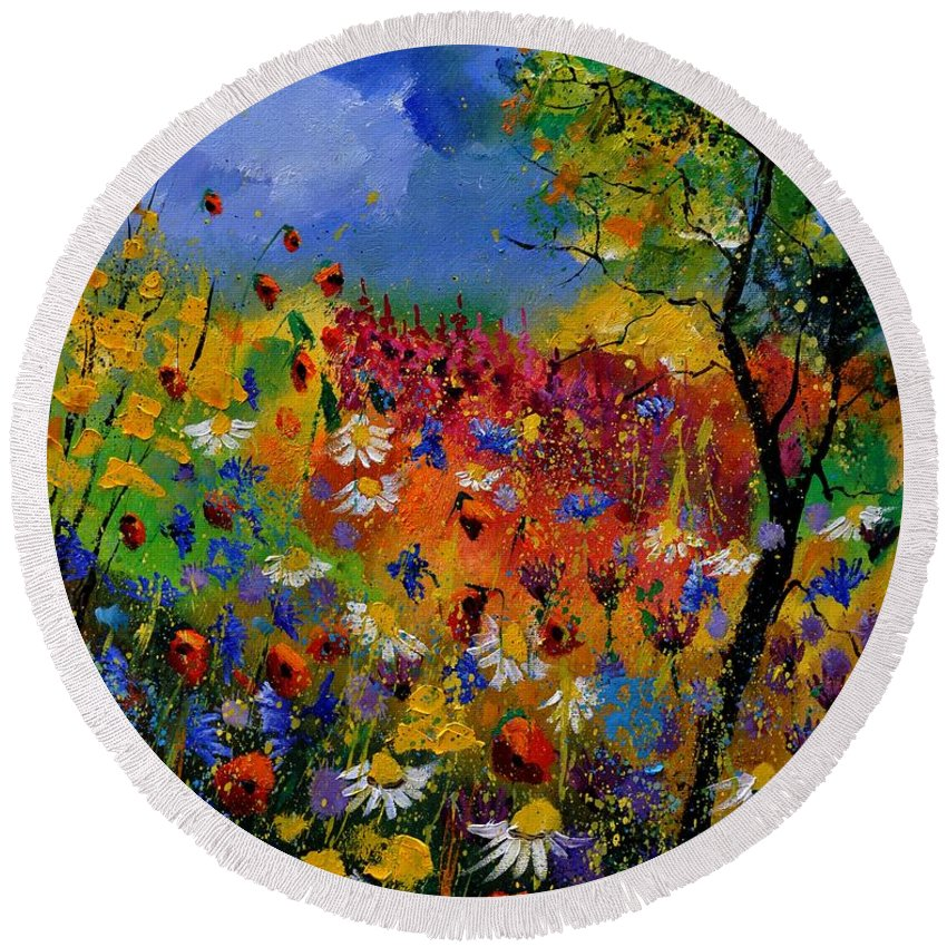 Flowers Round Beach Towel featuring the painting Summer 670170 by Pol Ledent