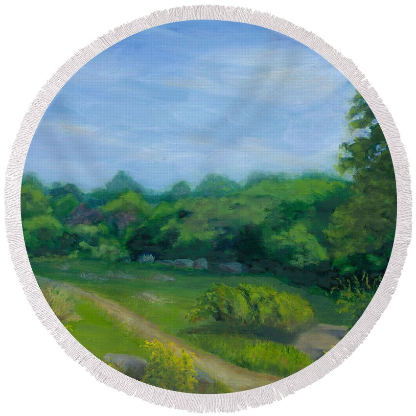 Landscape Round Beach Towel featuring the painting Summer Afternoon At Ashlawn Farm by Paula Emery