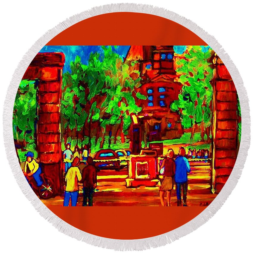 Mcgill University Round Beach Towel featuring the painting Summer At Mcgill University by Carole Spandau