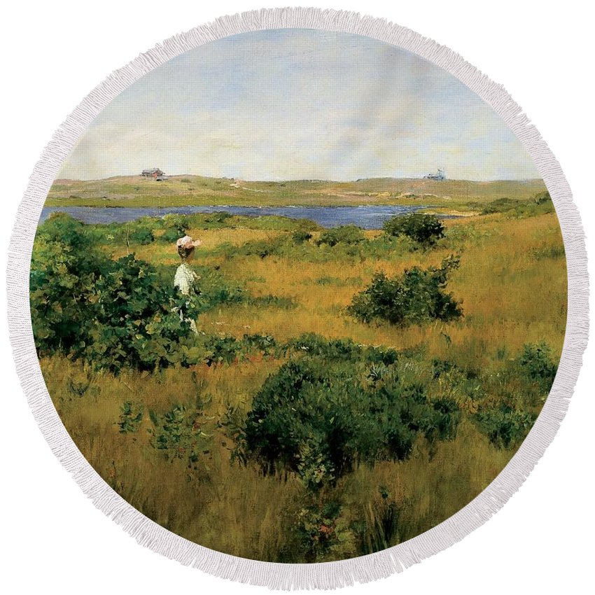 Long Island Round Beach Towel featuring the painting Summer At Shinnecock Hills by William Merritt Chase